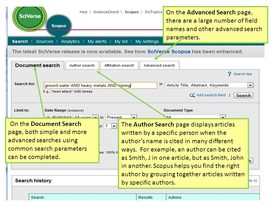 On the Advanced Search page, there are a large number of field names and other advanced search parameters.