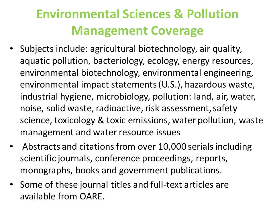 Environmental Sciences & Pollution Management Coverage