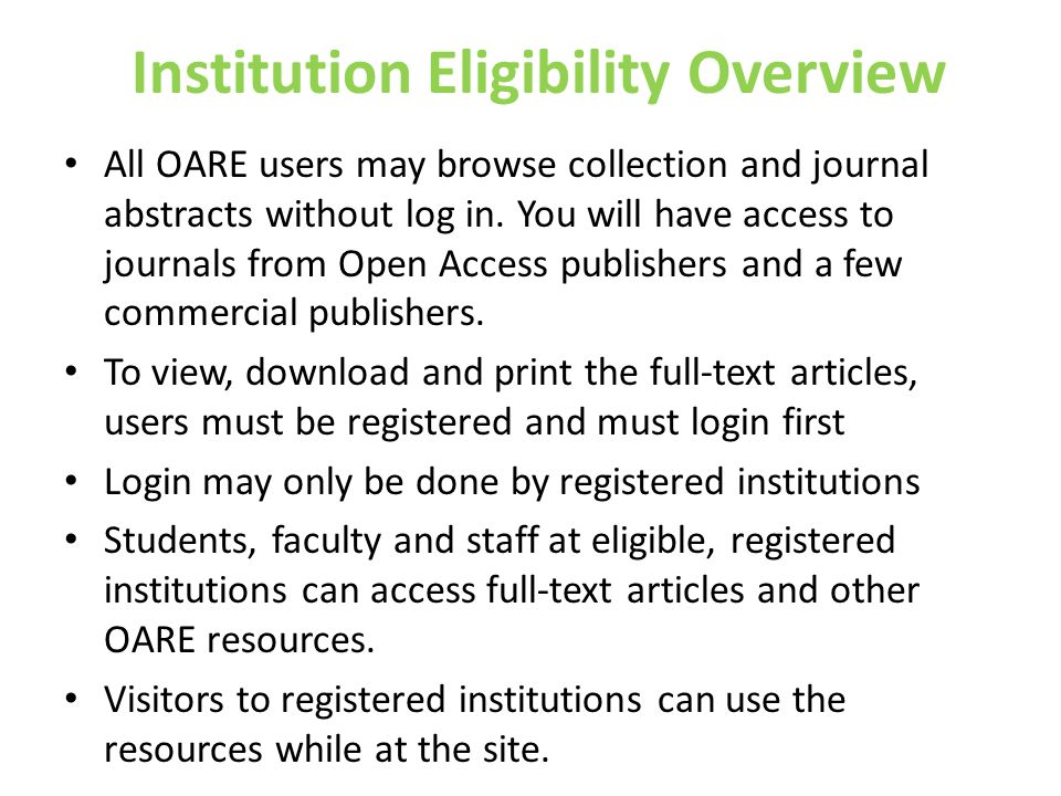 Institution Eligibility Overview