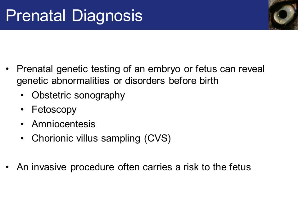 prenatal diagnosis for abnormalities detection The options for the prenatal detection of chromosomal abnormalities are mainly limited to invasive methods with a small but finite risk for fetal loss the most common method for detection of abnormalities is amniocentesis.