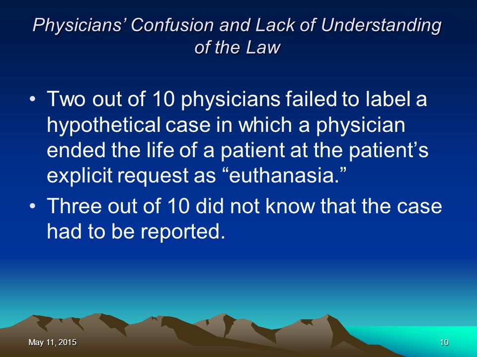 Physicians' Confusion and Lack of Understanding of the Law