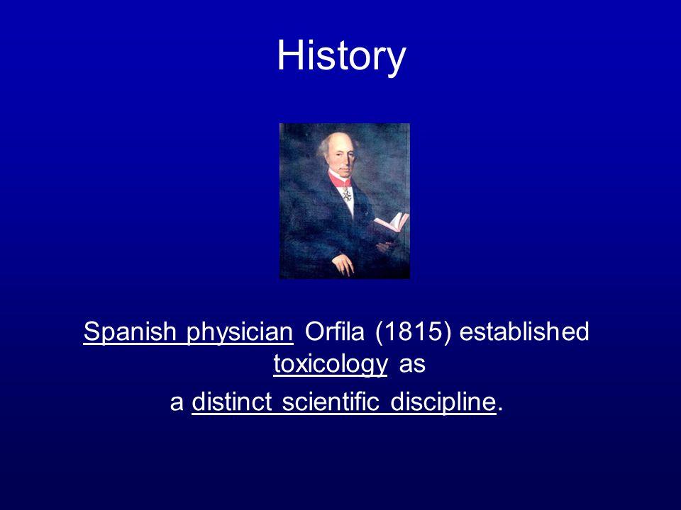 History Spanish physician Orfila (1815) established toxicology as