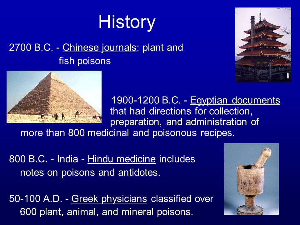 History 2700 B.C. - Chinese journals: plant and fish poisons