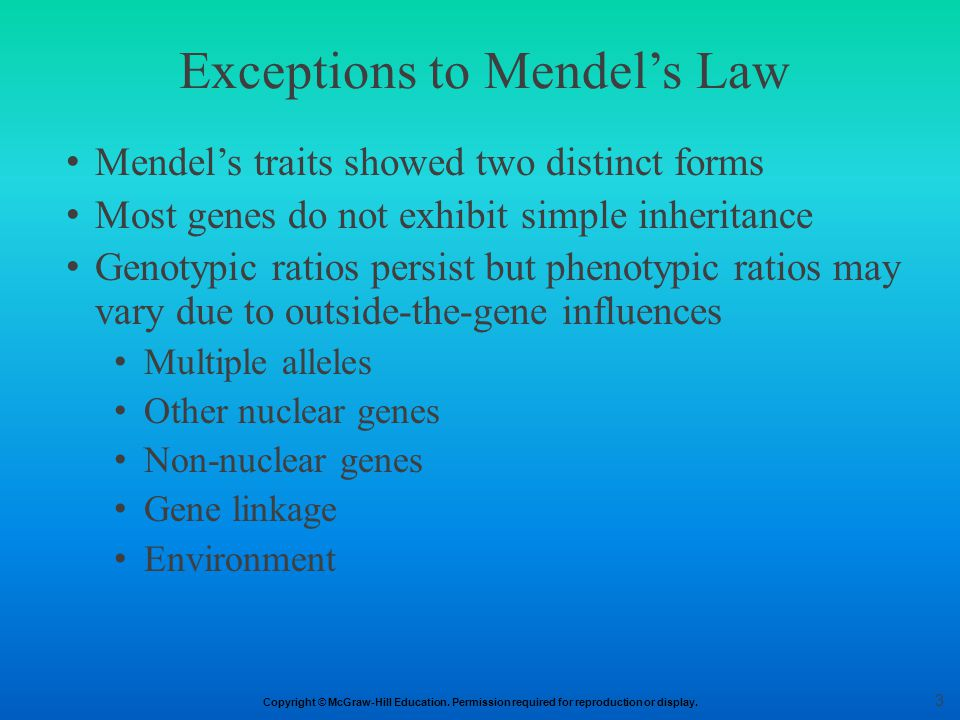 Exceptions to Mendel's Law