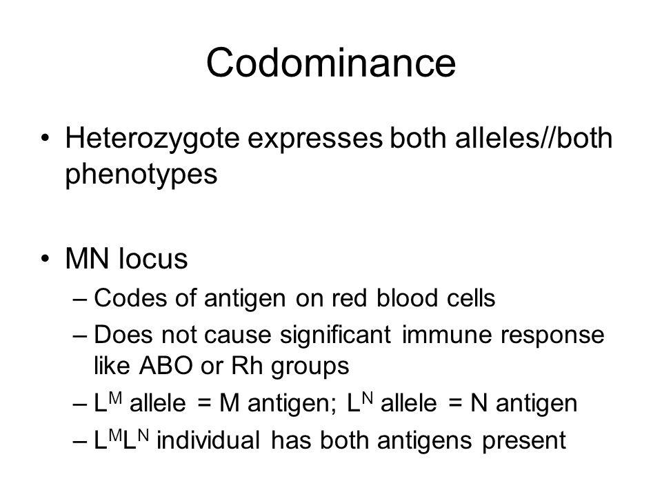 Codominance Heterozygote expresses both alleles//both phenotypes