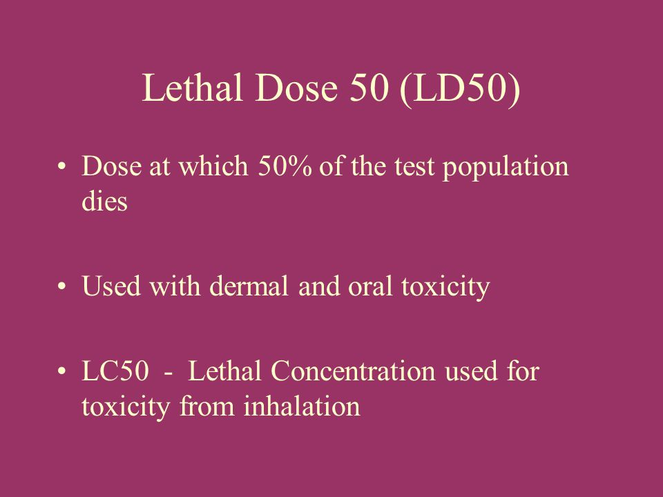 Lethal Dose 50 (LD50) Dose at which 50% of the test population dies