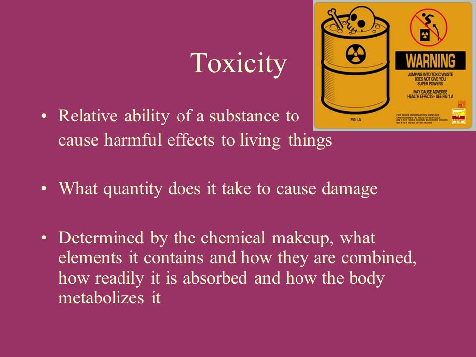 Toxicity Relative ability of a substance to