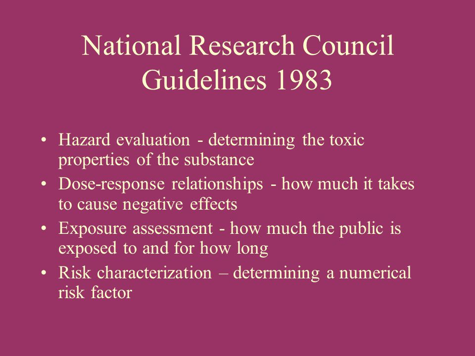 National Research Council Guidelines 1983