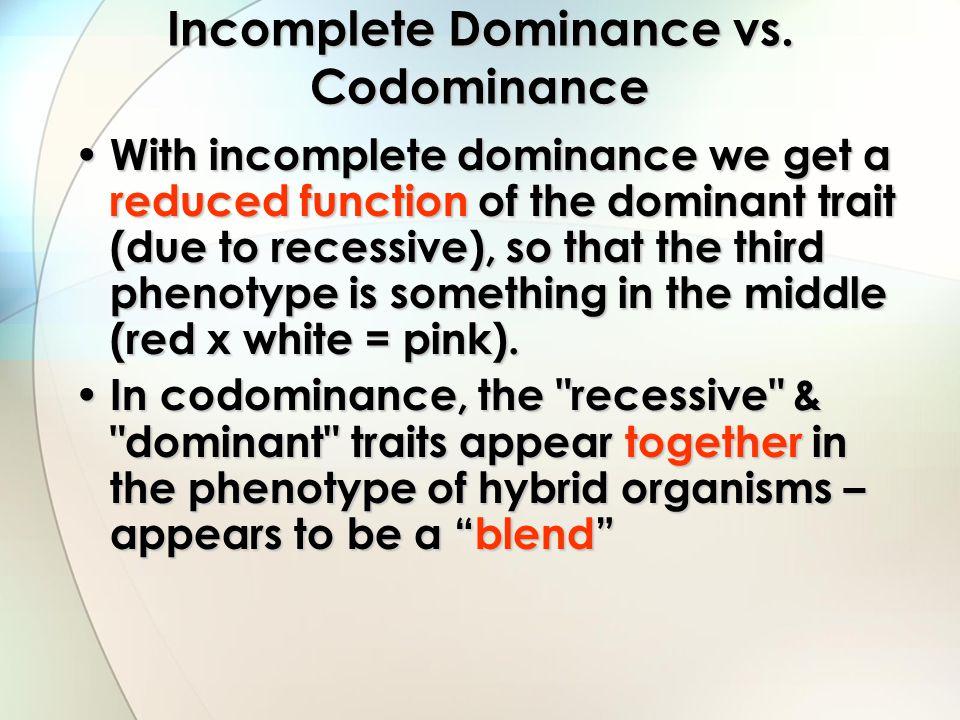 Incomplete Dominance vs. Codominance