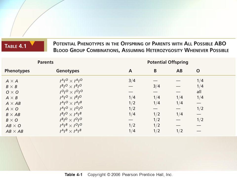 Table 4-1 Copyright © 2006 Pearson Prentice Hall, Inc.