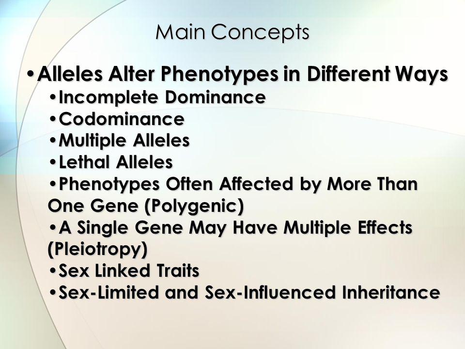Alleles Alter Phenotypes in Different Ways