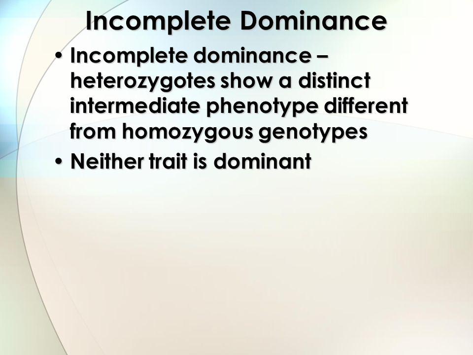 Incomplete Dominance Incomplete dominance – heterozygotes show a distinct intermediate phenotype different from homozygous genotypes.