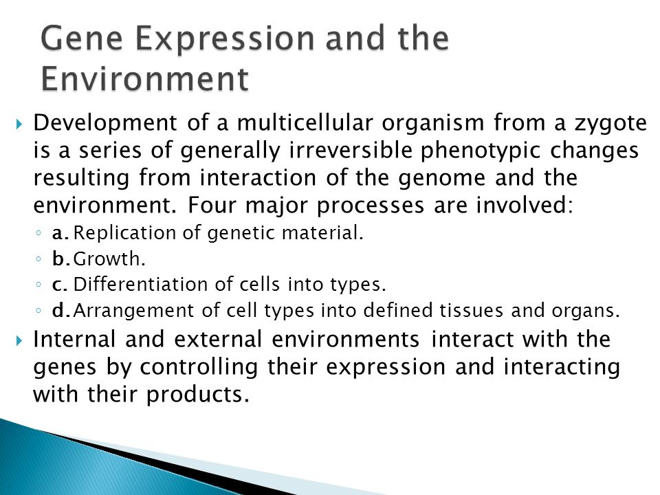 Gene Expression and the Environment