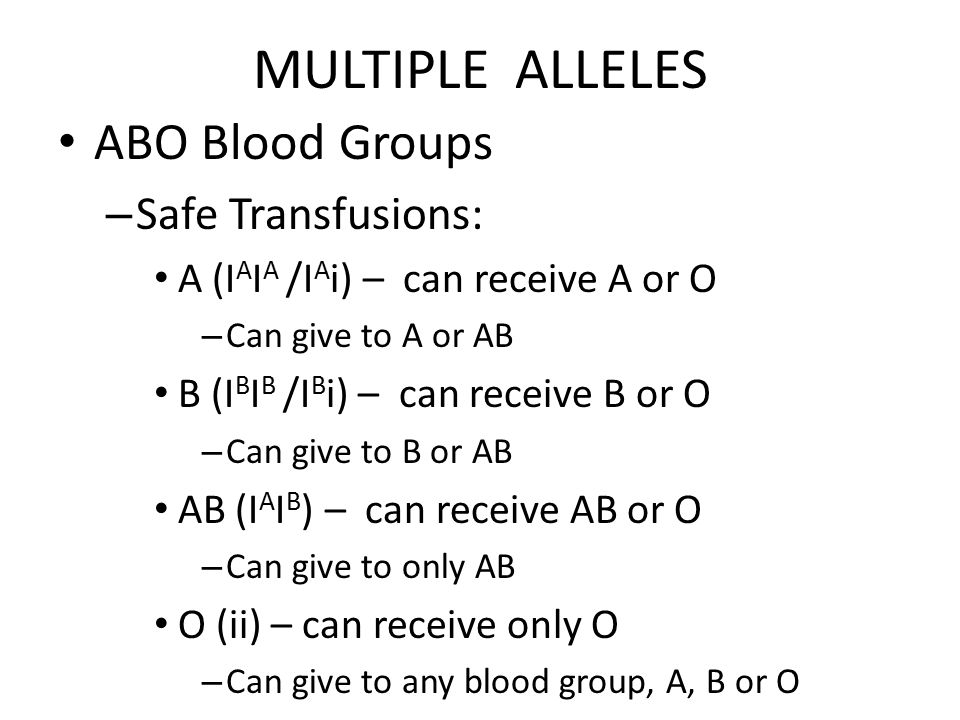 MULTIPLE ALLELES ABO Blood Groups Safe Transfusions: