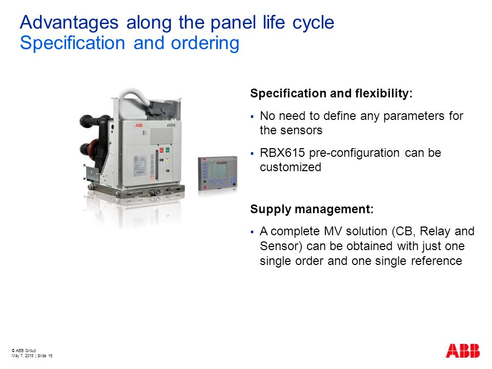 Advantages along the panel life cycle Specification and ordering