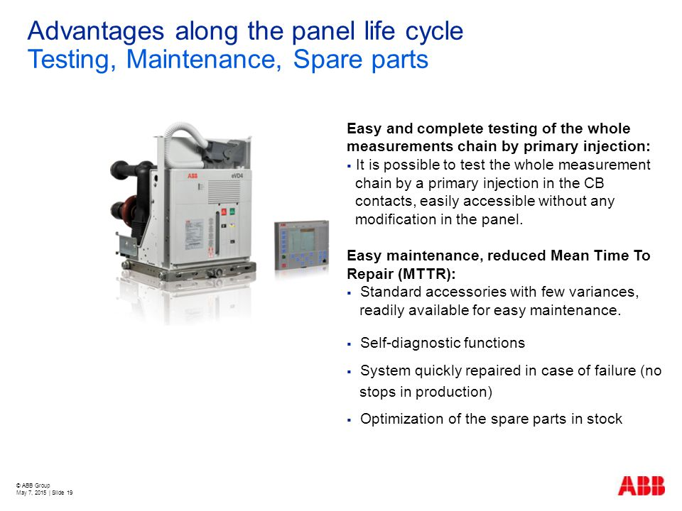 Advantages along the panel life cycle Testing, Maintenance, Spare parts