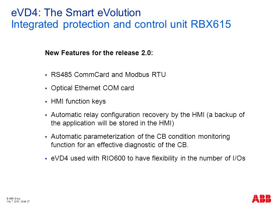 eVD4: The Smart eVolution Integrated protection and control unit RBX615