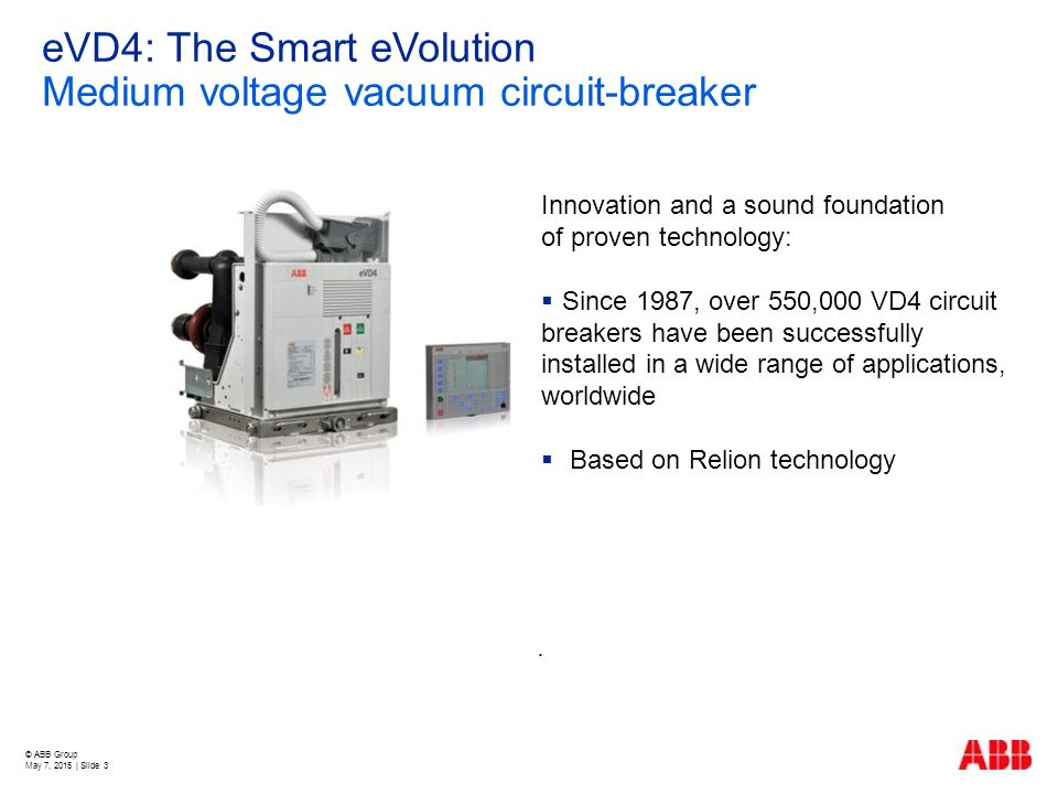 eVD4: The Smart eVolution Medium voltage vacuum circuit-breaker