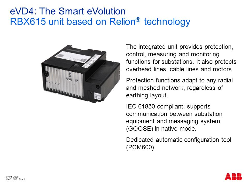 eVD4: The Smart eVolution RBX615 unit based on Relion® technology