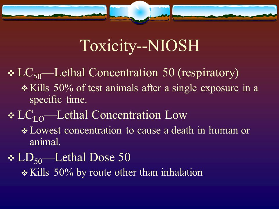 Toxicity--NIOSH LC50—Lethal Concentration 50 (respiratory)