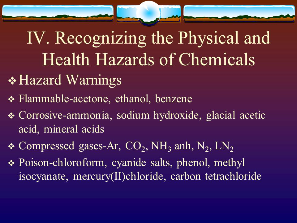 IV. Recognizing the Physical and Health Hazards of Chemicals