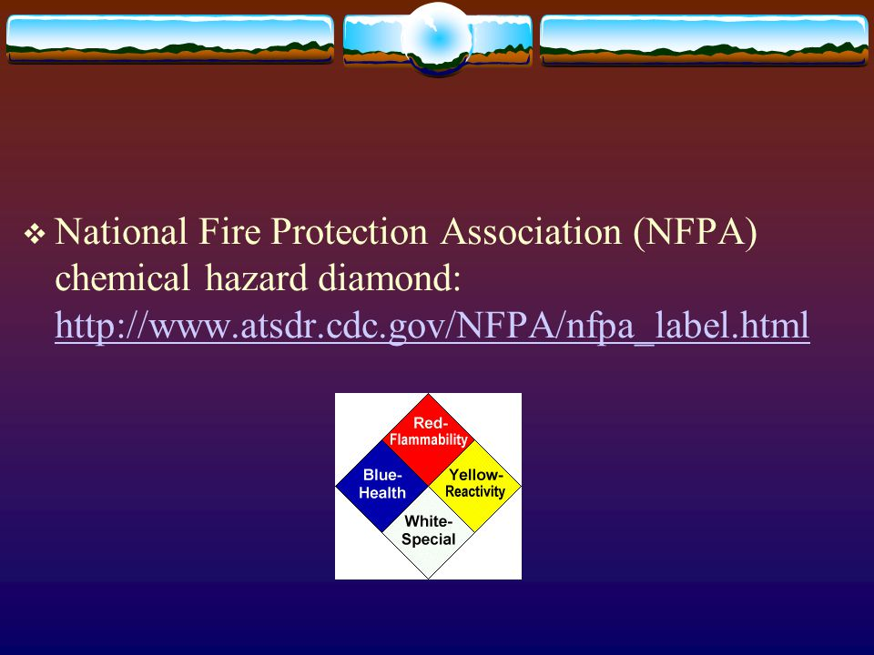 National Fire Protection Association (NFPA) chemical hazard diamond: http://www.atsdr.cdc.gov/NFPA/nfpa_label.html