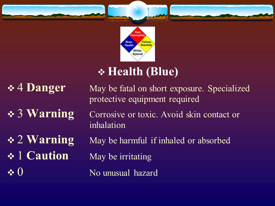 Health (Blue) 4 Danger May be fatal on short exposure. Specialized protective equipment required.
