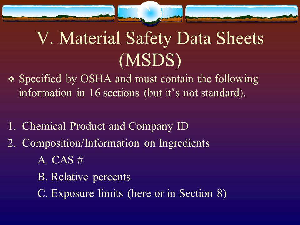 V. Material Safety Data Sheets (MSDS)