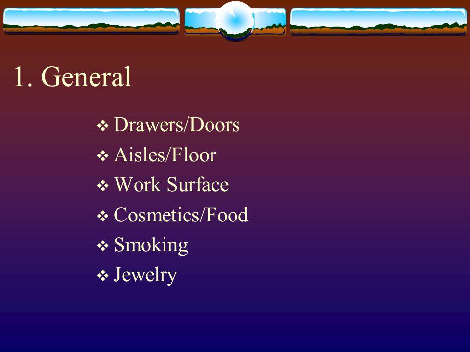 1. General Drawers/Doors Aisles/Floor Work Surface Cosmetics/Food