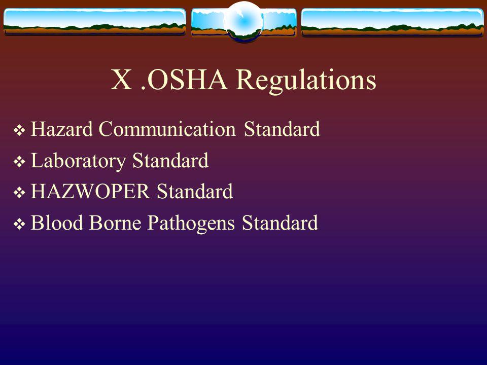 X .OSHA Regulations Hazard Communication Standard Laboratory Standard