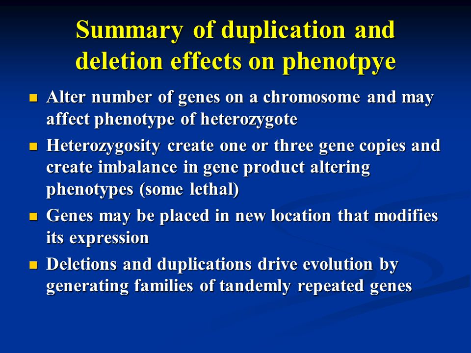 Summary of duplication and deletion effects on phenotpye