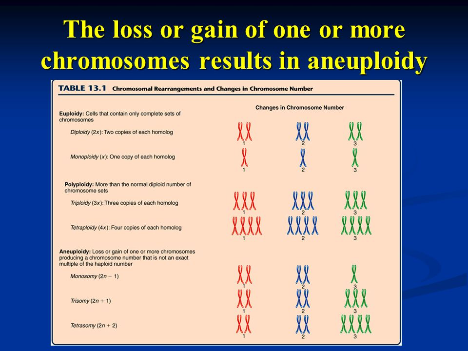 The loss or gain of one or more chromosomes results in aneuploidy