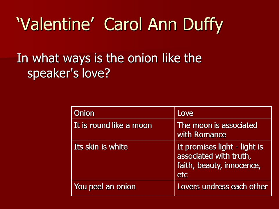 "love in carol ann duffys valentine We will write a custom essay sample on ""love"" in carol ann duffy's valentine specifically for you for only $1638 $139/page."