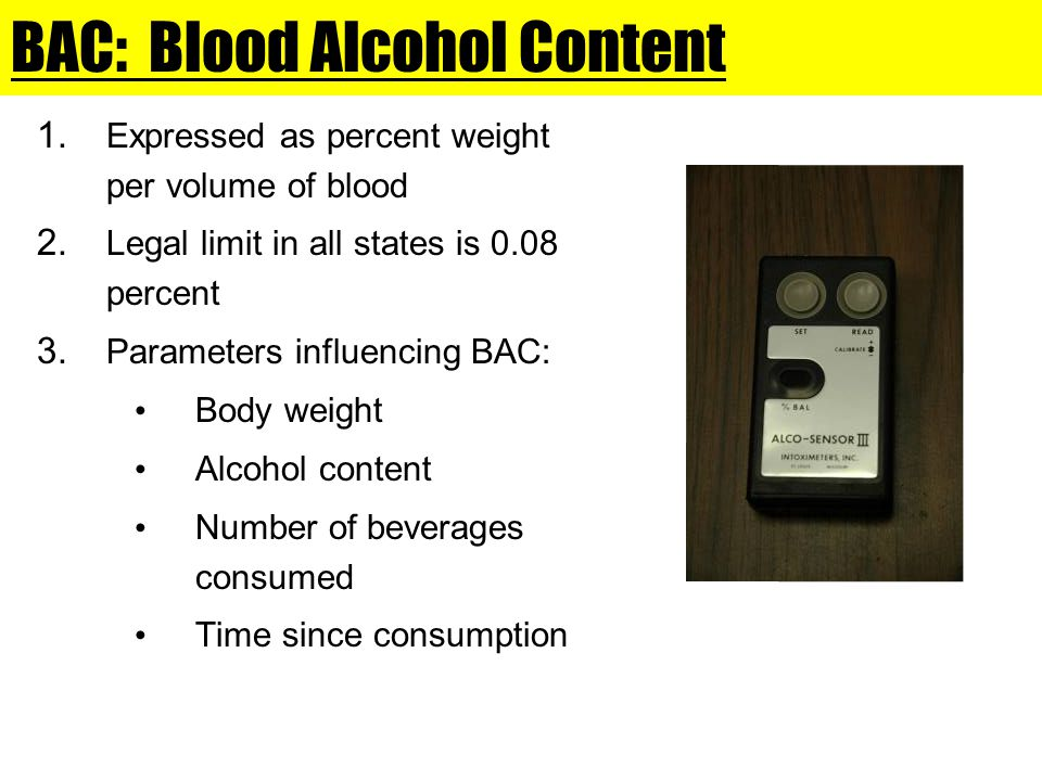 BAC: Blood Alcohol Content