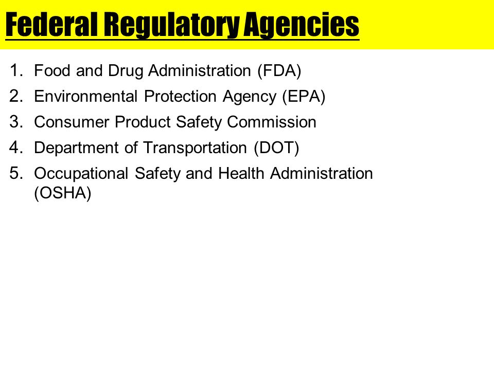 Federal Regulatory Agencies