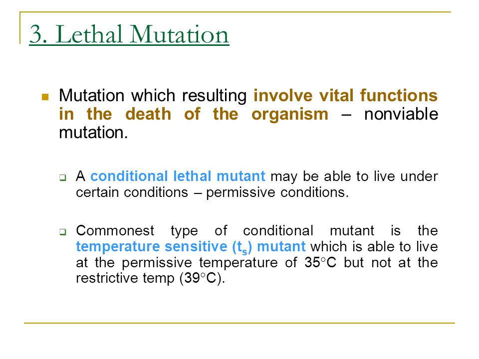 3. Lethal Mutation Mutation which resulting involve vital functions in the death of the organism – nonviable mutation.