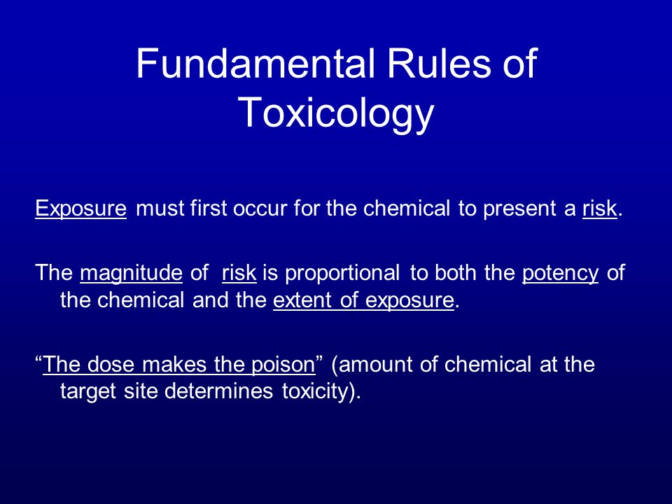 Fundamental Rules of Toxicology