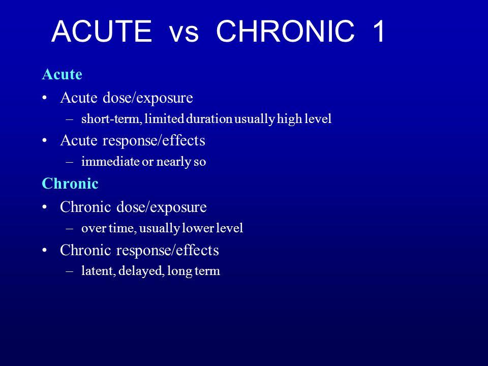 ACUTE vs CHRONIC 1 Acute Acute dose/exposure Acute response/effects