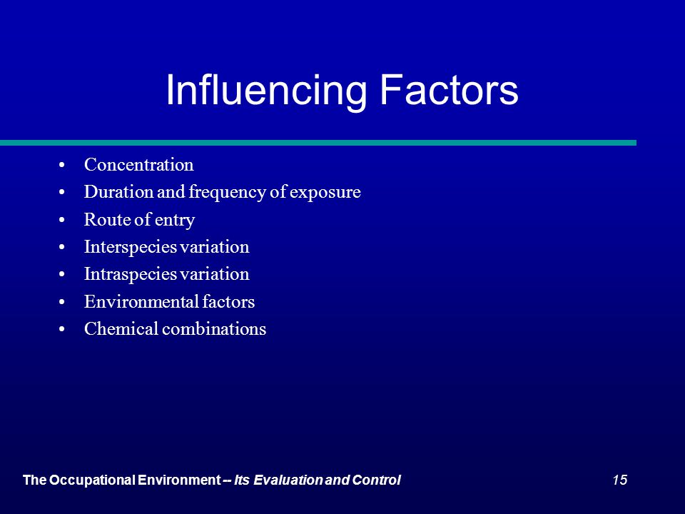 Influencing Factors Concentration Duration and frequency of exposure