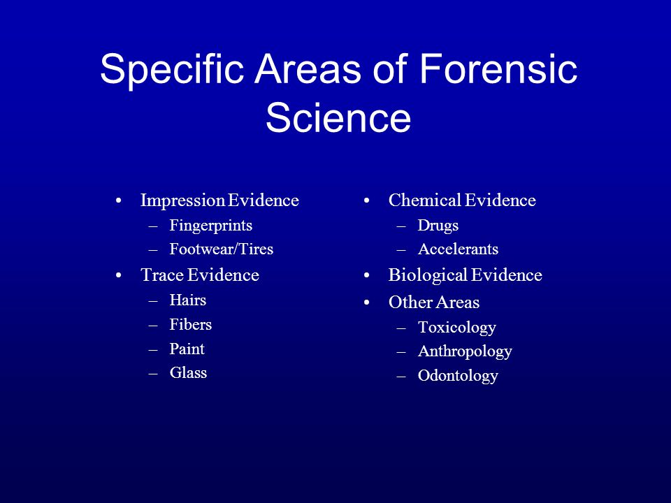 Specific Areas of Forensic Science