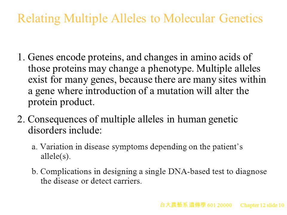 Relating Multiple Alleles to Molecular Genetics