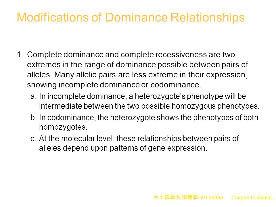 Modifications of Dominance Relationships
