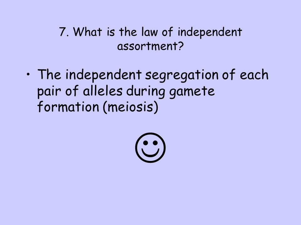 7. What is the law of independent assortment