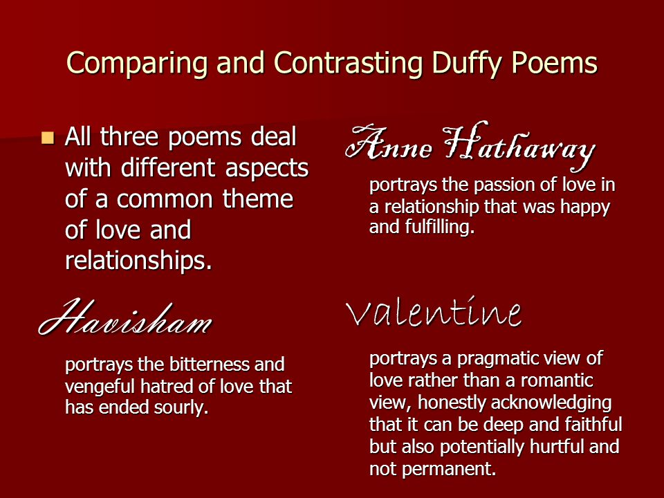 Comparing and Contrasting Duffy Poems