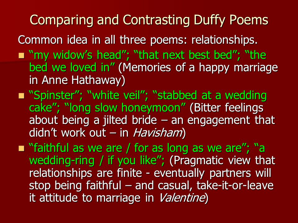 havisham and valentine Carol ann duffy is an award-winning scots poet who, according to danette dimarco in mosaic, is the poet of.