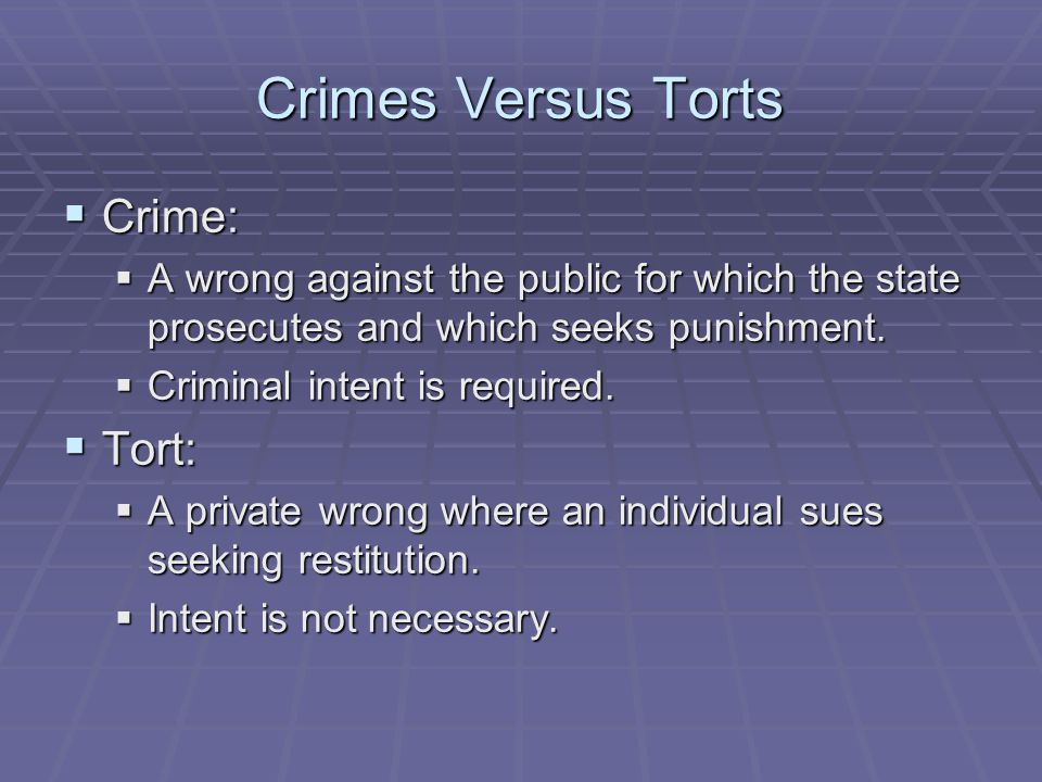 Crimes Versus Torts Crime: Tort: