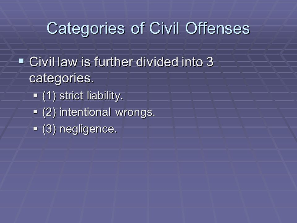 Categories of Civil Offenses