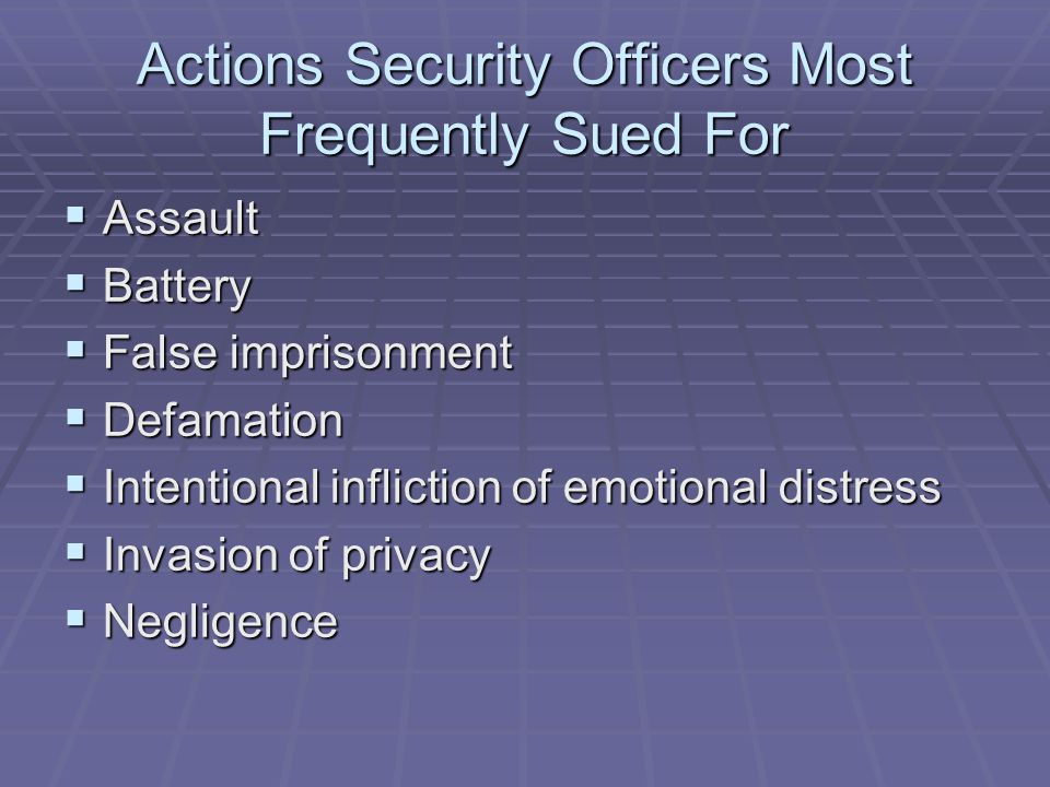 Actions Security Officers Most Frequently Sued For