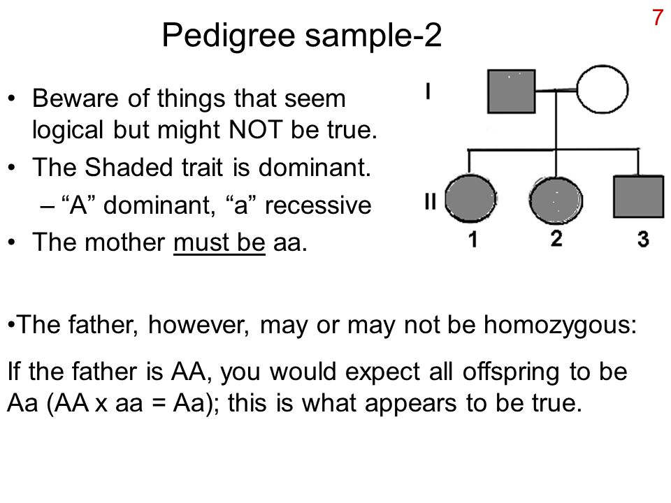 Pedigree sample-2 Beware of things that seem logical but might NOT be true. The Shaded trait is dominant.