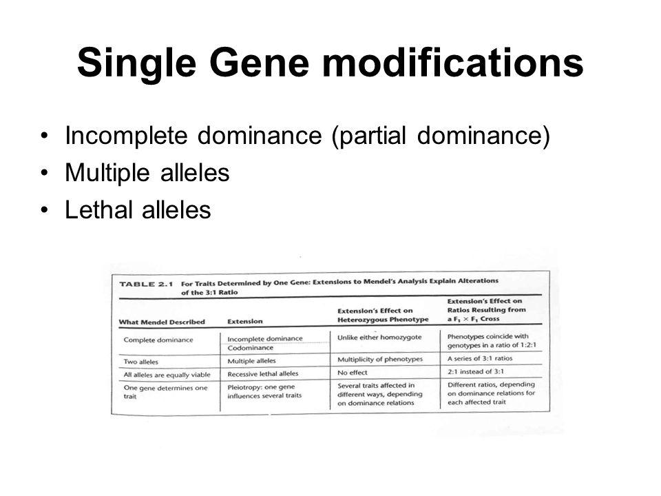 Single Gene modifications
